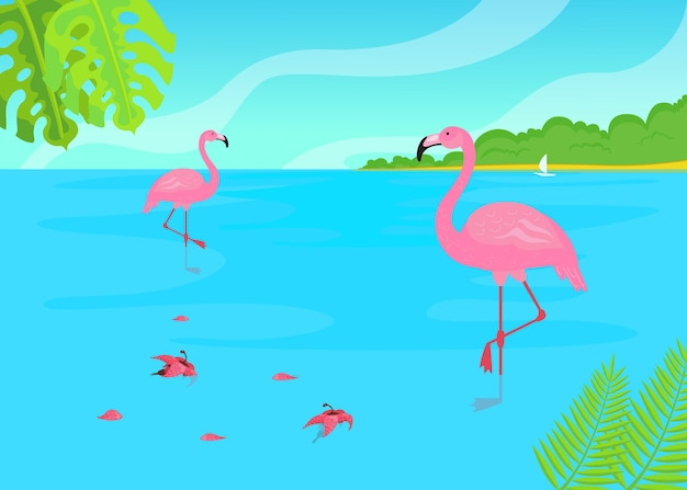 Flamingos standing in water in tropical landscape