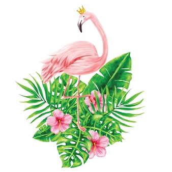 Flamingos and tropical foliage illustrations