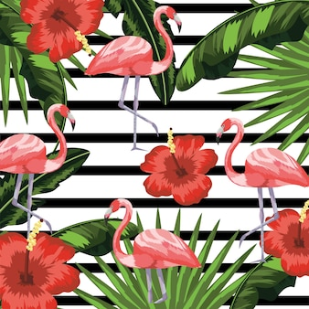 Flamingos with flowers and plants leaves background