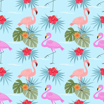 Flamingos with hibiscus flowers  and leaves seamless pattern.
