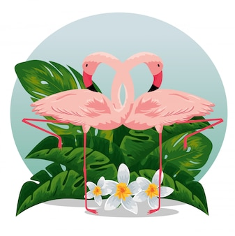 Flamingos with tropical flowers and exotic leaves