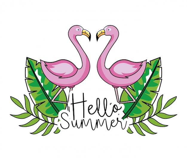 Flamingos with tropical leaves in summer vacation
