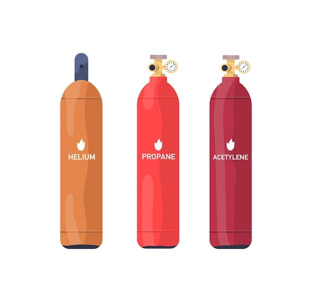 가연성 가스 탱크 평면 벡터 일러스트 세트입니다. 헬륨, 프로판, 아세틸렌 산업용 다색 실린더 컬렉션입니다. 흰색으로 분리된 압력계가 있는 압축 가스 저장 용기.