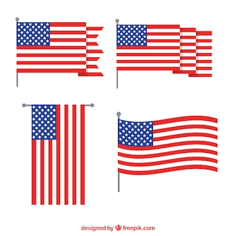 Flapped american flag collection flat design