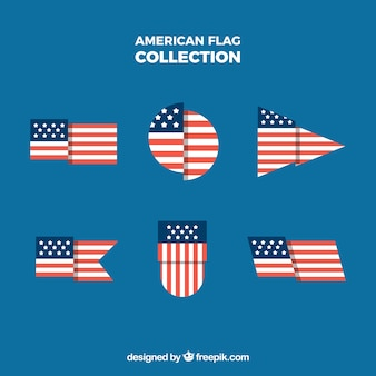 Flapped american flag with different shapes collection