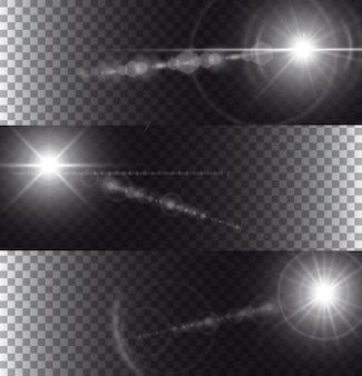 透明の背景に隔離されたフレアライト