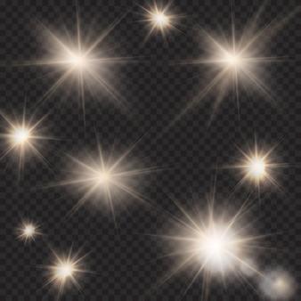 Flares, rays, beams, sun burst, light effects under clipping mask on dark