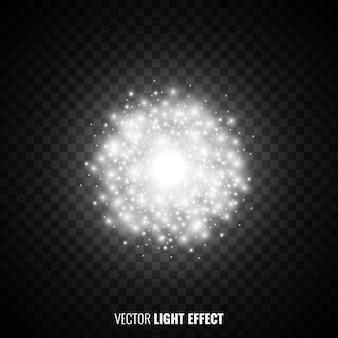 フレア、輝き。爆発。光の効果。輝く粒子。きらびやかなライト。図。