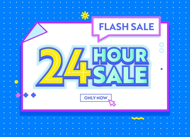 Flash 24 hour sale banner in funky style with typography for digital social media marketing advertising. hot shopping offer, discount, colorful minimal design for online purchase. vector illustration
