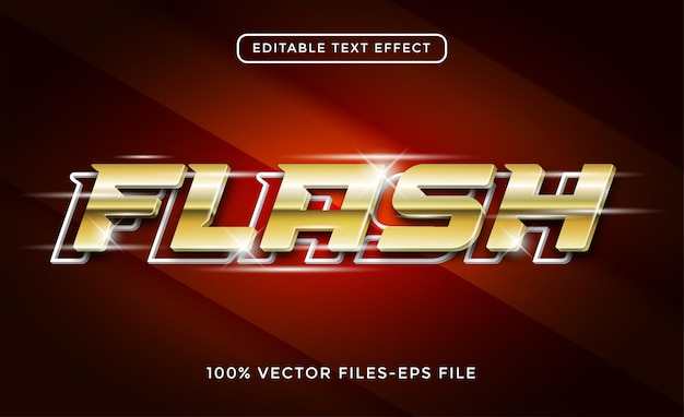 フラッシュ3dテキストゴールド効果プレミアムベクトル