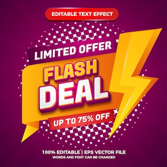 Flash big deal banner logo business retail promotion with modern editable text effect