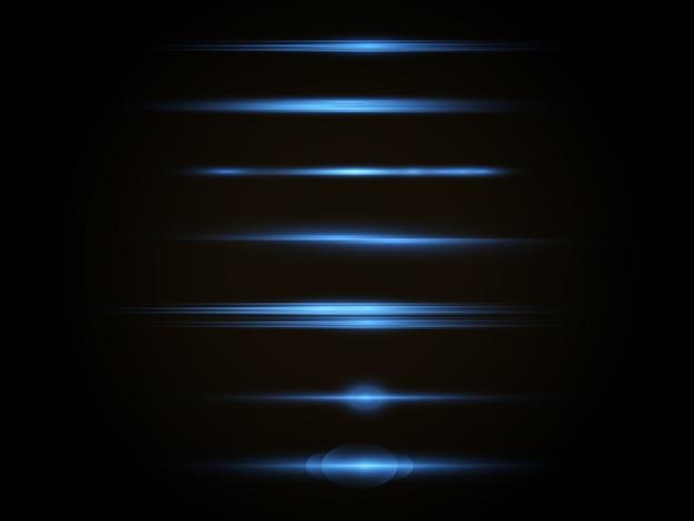 Flash blue horizontal lens flares pack, horizontal light rays, laser beams.