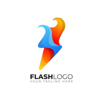 Flash bolt thunder fire flame logo design