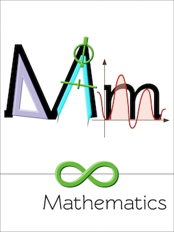 Flash card letter m is for mathematics. science alphabet for kids.