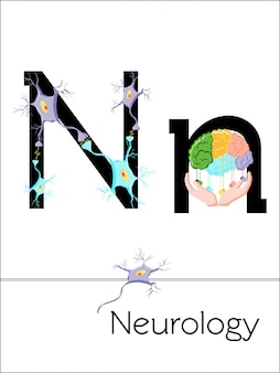 Flash card letter n is for neurology. science alphabet for kids.