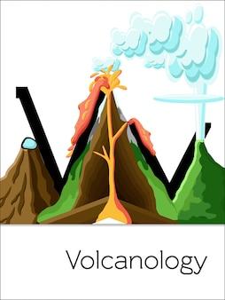 플래시 카드 문자 v는 화 산학을위한 것입니다