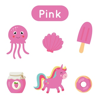 Flash cards for learning and practicing colors. objects in pink color. printable material for kids.