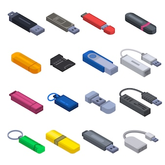 Flash drive icon set. isometric set of flash drive vector icons for web design isolated on white background