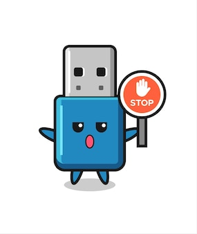 정지 신호를 들고 있는 플래시 드라이브 usb 문자 그림, 티셔츠, 스티커, 로고 요소를 위한 귀여운 스타일 디자인