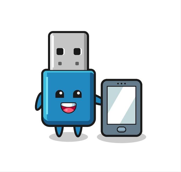 스마트폰을 들고 있는 플래시 드라이브 usb 그림 만화, 티셔츠, 스티커, 로고 요소를 위한 귀여운 스타일 디자인