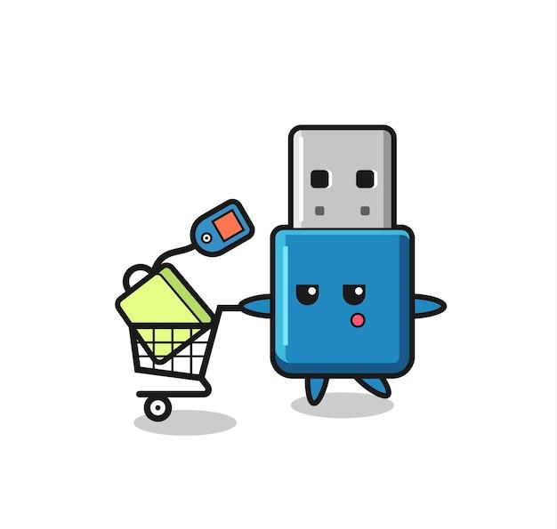 ショッピングカート、tシャツ、ステッカー、ロゴ要素のかわいいスタイルのデザインとフラッシュドライブusbイラスト漫画