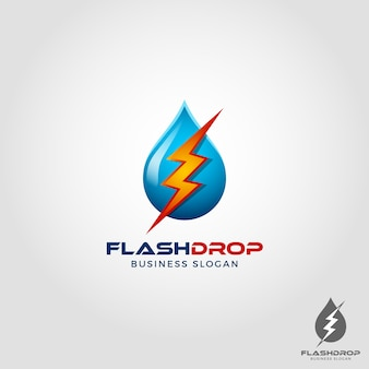 Flash drop - electric water logo template