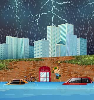 Flash flood in big city