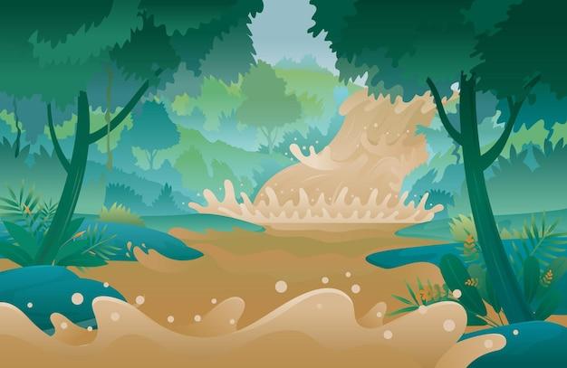 Внезапное наводнение, течет дикая вода на фоне леса