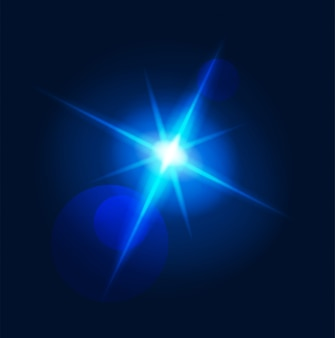 Flash glowing light lens flare and burst star neon blue rays with vector transparent magical illusion
