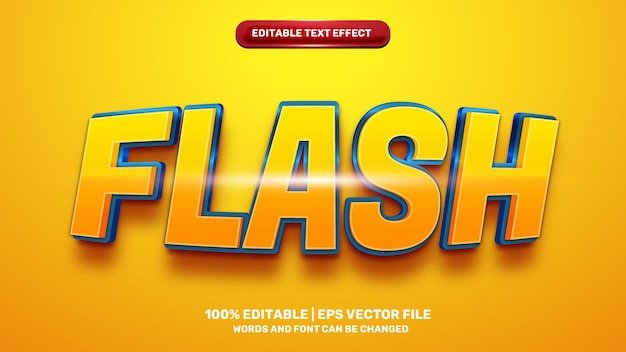 Flash hero editable text effect for cartoon comic game title style template on yellow background