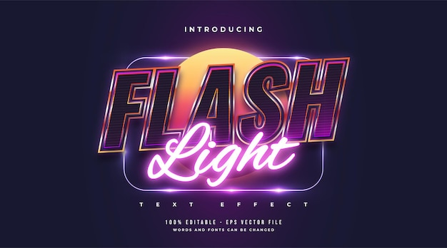 Flash light text style with colorful and glowing neon effect. editable text style effect