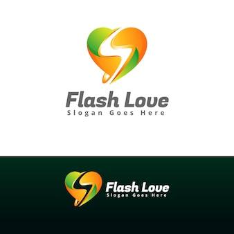 フラッシュ愛のロゴデザインテンプレート