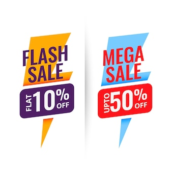 Flash mega sale discount banner design