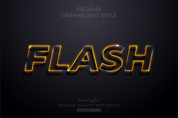 Flash neon orange editable text effect font style