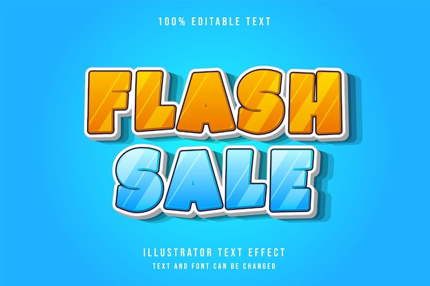 Flash sale,3d editable text effect modern blue gradation yellow comic text style