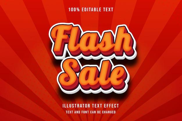 플래시 판매, 3d 편집 가능한 텍스트 효과 노란색 그라데이션 오렌지 레드 현대 그림자 스타일