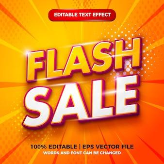 Флэш-распродажа 3d современный редактируемый текстовый эффект в стиле шаблона