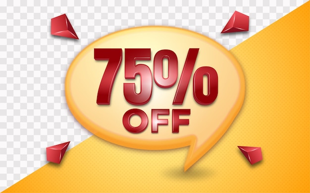 Flash sale 75 percent off business marketing icon template