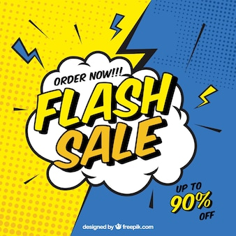 Sfondo di vendita flash in stile fumetto