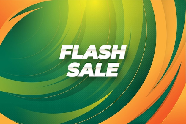 Flash sale background with modern concept in fresh green color vector templates