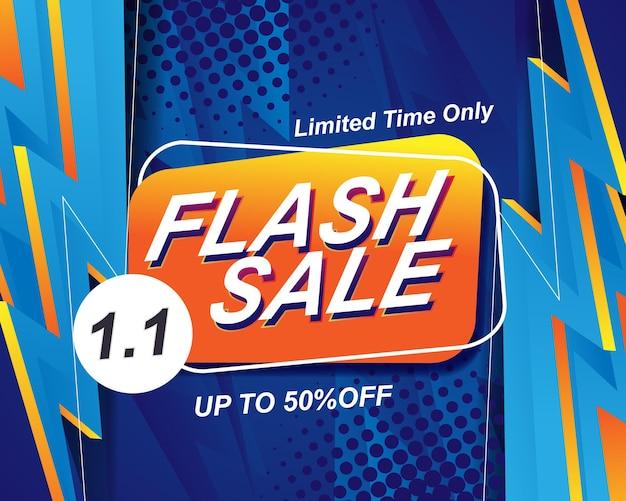 Шаблон фона баннера flash sale для события распродажи 1.1