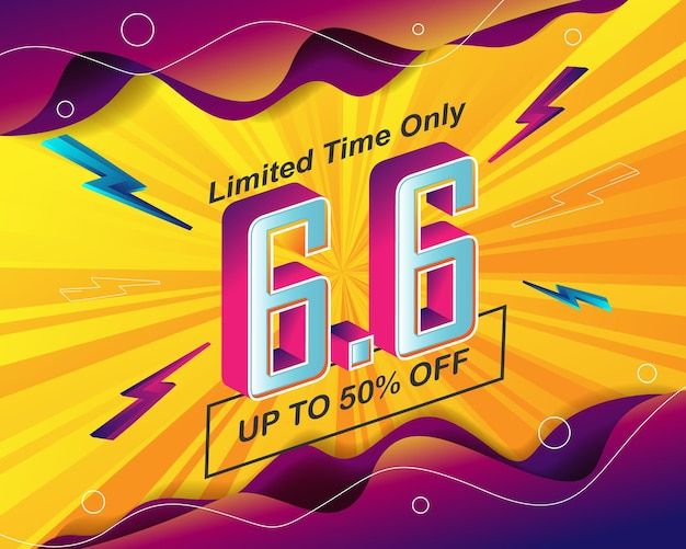 6.6 판매 이벤트용 플래시 판매 배너 배경 템플릿 프리미엄 벡터