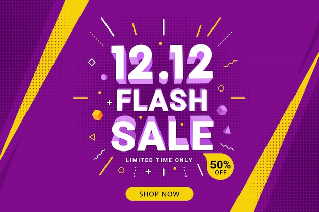 Flash sale banner design with discount offer for promotion