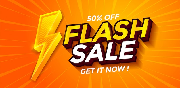 Flash sale banner discount with lighting vector