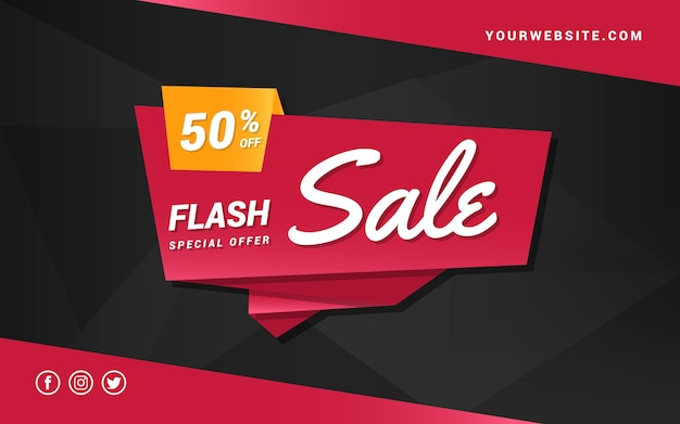Flash sale banner in origami style
