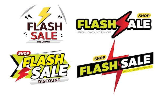 Flash sale banner promotion tag design for marketing