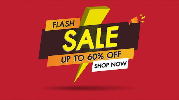 Flash sale banner promotion template design on red with golden thunder