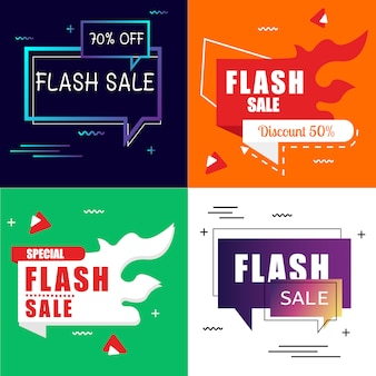 Flash sale banner set элементы premium vector pack