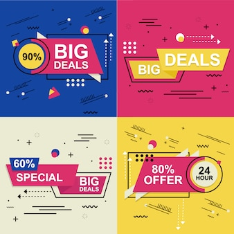 Flash sale banner set elements premium vector pack