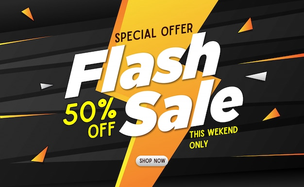 Flash sale banner template black